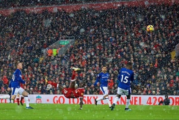 LIVERPOOL, ENGLAND - Sunday, December 10, 2017: Liverpool's Sadio Mane during the FA Premier League match between Liverpool and Everton, the 229th Merseyside Derby, at Anfield. (Pic by David Rawcliffe/Propaganda)