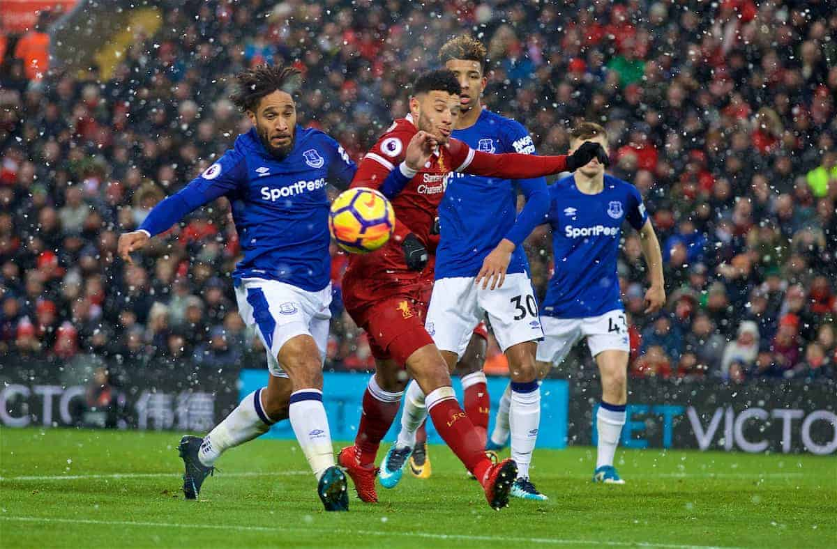 LIVERPOOL, ENGLAND - Sunday, December 10, 2017: Liverpool's Alex Oxlade-Chamberlain and Everton's Ashley Williams during the FA Premier League match between Liverpool and Everton, the 229th Merseyside Derby, at Anfield. (Pic by David Rawcliffe/Propaganda)