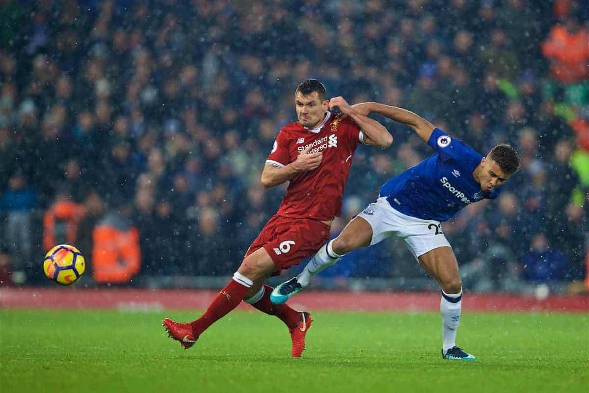 LIVERPOOL, ENGLAND - Sunday, December 10, 2017: Liverpool's Dejan Lovren and Everton's Dominic Calvert-Lewin during the FA Premier League match between Liverpool and Everton, the 229th Merseyside Derby, at Anfield. (Pic by David Rawcliffe/Propaganda)