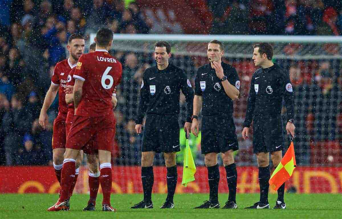 LIVERPOOL, ENGLAND - Sunday, December 10, 2017: Liverpool's Dejan Lovren has words with referee Craig Pawson and his officials after the FA Premier League match between Liverpool and Everton, the 229th Merseyside Derby, at Anfield. (Pic by David Rawcliffe/Propaganda)