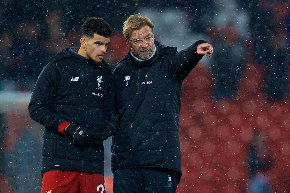 LIVERPOOL, ENGLAND - Sunday, December 10, 2017: Liverpool's manager Jürgen Klopp speaks with Dominic Solanke after the FA Premier League match between Liverpool and Everton, the 229th Merseyside Derby, at Anfield. (Pic by David Rawcliffe/Propaganda)
