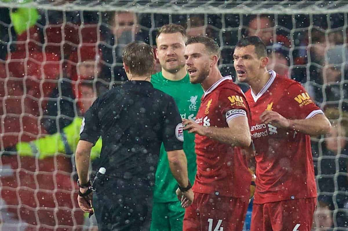 LIVERPOOL, ENGLAND - Sunday, December 10, 2017: Liverpool's goalkeeper Simon Mignolet, captain Jordan Henderson and Dejan Lovren remonstrate with referee Craig Pawson after a penalty is awarded to Everton which helps them seal an undeserved 1-1 draw during the FA Premier League match between Liverpool and Everton, the 229th Merseyside Derby, at Anfield. (Pic by David Rawcliffe/Propaganda)