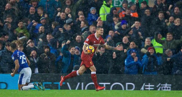 LIVERPOOL, ENGLAND - Sunday, December 10, 2017: Liverpool's Dejan Lovren reacts after a penalty is awarded to Everton during the FA Premier League match between Liverpool and Everton, the 229th Merseyside Derby, at Anfield. (Pic by David Rawcliffe/Propaganda)