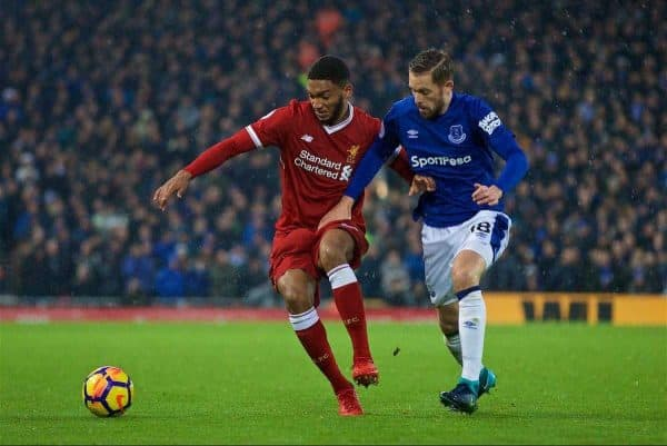 LIVERPOOL, ENGLAND - Sunday, December 10, 2017: Liverpool's Joe Gomez and Everton's Glyfi Sigurdsson during the FA Premier League match between Liverpool and Everton, the 229th Merseyside Derby, at Anfield. (Pic by David Rawcliffe/Propaganda)