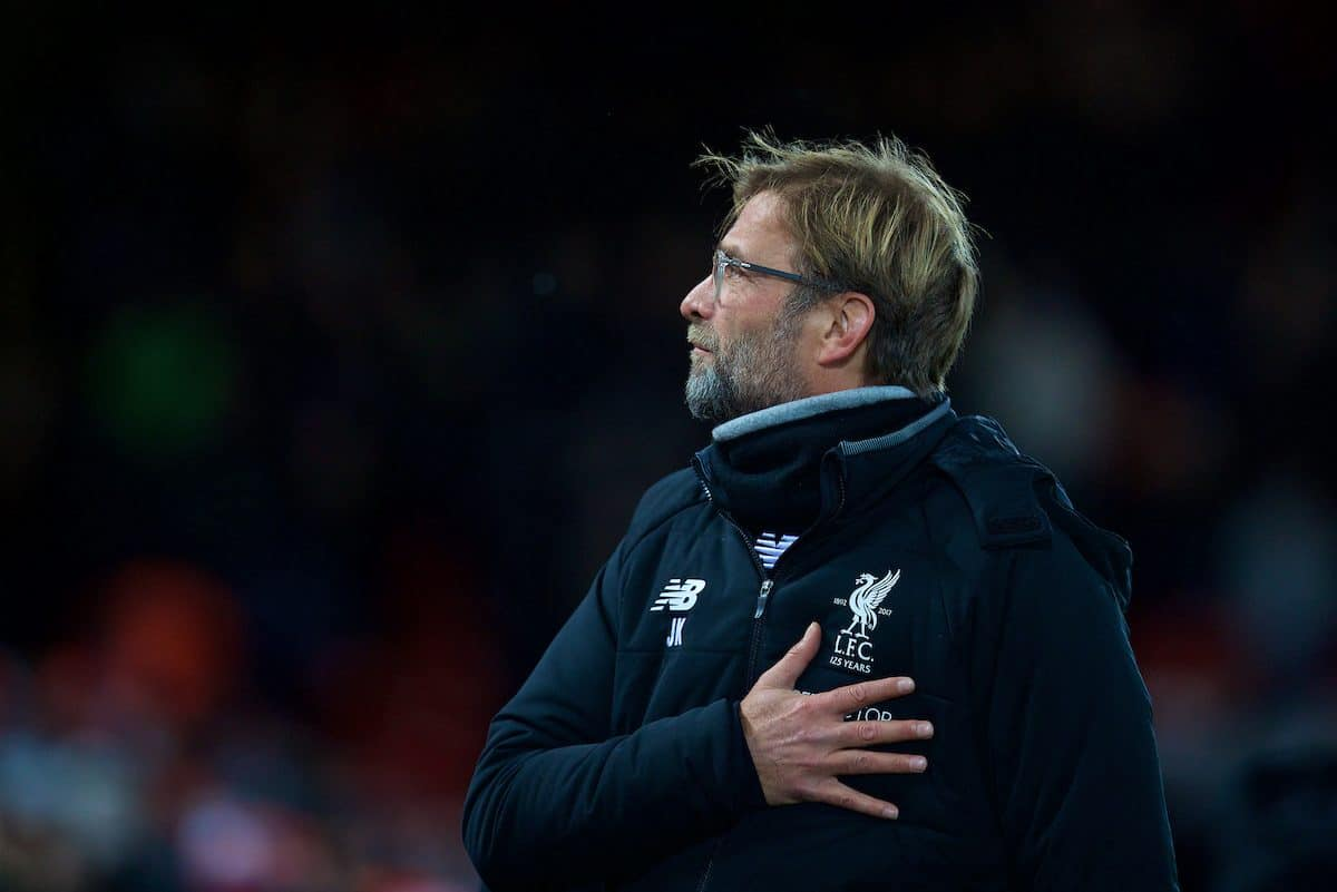 LIVERPOOL, ENGLAND - Wednesday, December 13, 2017: Liverpool's manager Jürgen Klopp before during the FA Premier League match between Liverpool and West Bromwich Albion at Anfield. (Pic by David Rawcliffe/Propaganda)