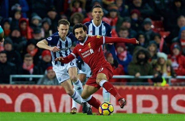 Liverpool's Mohamed Salah during the FA Premier League match between Liverpool and West Bromwich Albion at Anfield. (Pic by David Rawcliffe/Propaganda)