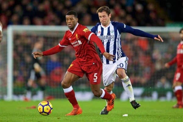 LIVERPOOL, ENGLAND - Wednesday, December 13, 2017: Liverpool's Georginio Wijnaldum and West Bromwich Albion's Grzegorz Krychowiak during the FA Premier League match between Liverpool and West Bromwich Albion at Anfield. (Pic by David Rawcliffe/Propaganda)