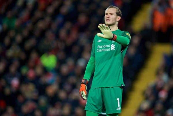 Liverpool's goalkeeper Loris Karius during the FA Premier League match between Liverpool and West Bromwich Albion at Anfield. (Pic by David Rawcliffe/Propaganda)
