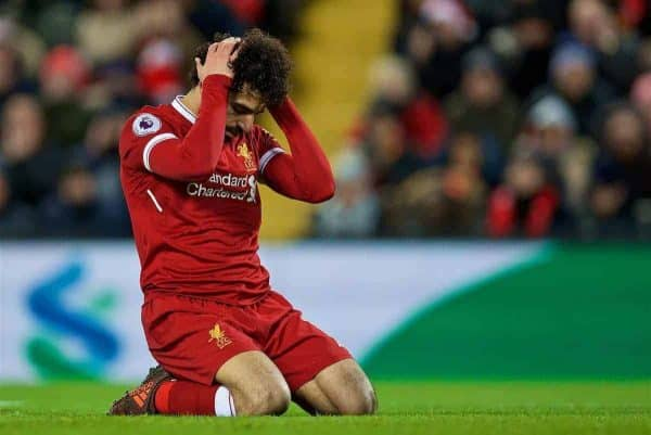 Liverpool's Mohamed Salah looks dejected after missing a chance during the FA Premier League match between Liverpool and West Bromwich Albion at Anfield. (Pic by David Rawcliffe/Propaganda)