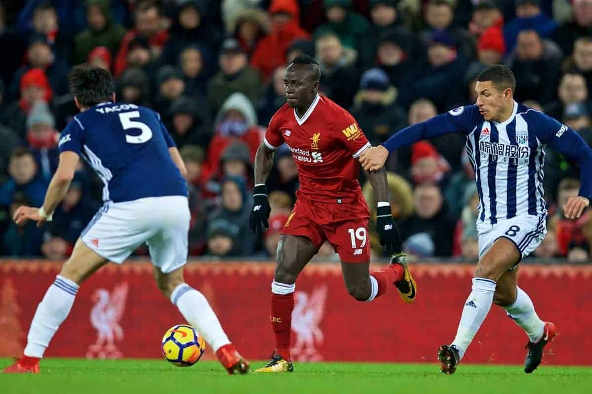 LIVERPOOL, ENGLAND - Wednesday, December 13, 2017: Liverpool's Sadio Mane during the FA Premier League match between Liverpool and West Bromwich Albion at Anfield. (Pic by David Rawcliffe/Propaganda)