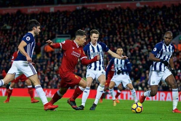 Liverpool's Roberto Firmino during the FA Premier League match between Liverpool and West Bromwich Albion at Anfield. (Pic by David Rawcliffe/Propaganda)