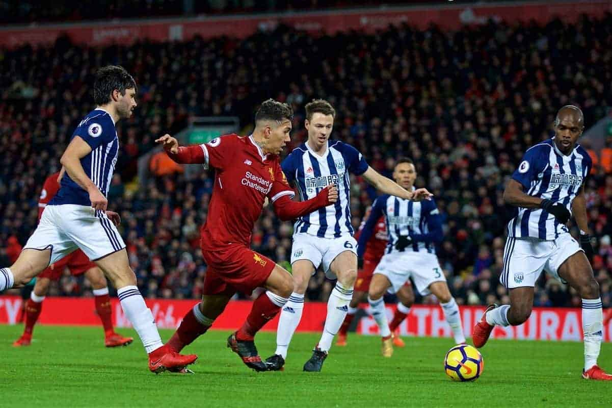LIVERPOOL, ENGLAND - Wednesday, December 13, 2017: Liverpool's Roberto Firmino during the FA Premier League match between Liverpool and West Bromwich Albion at Anfield. (Pic by David Rawcliffe/Propaganda)