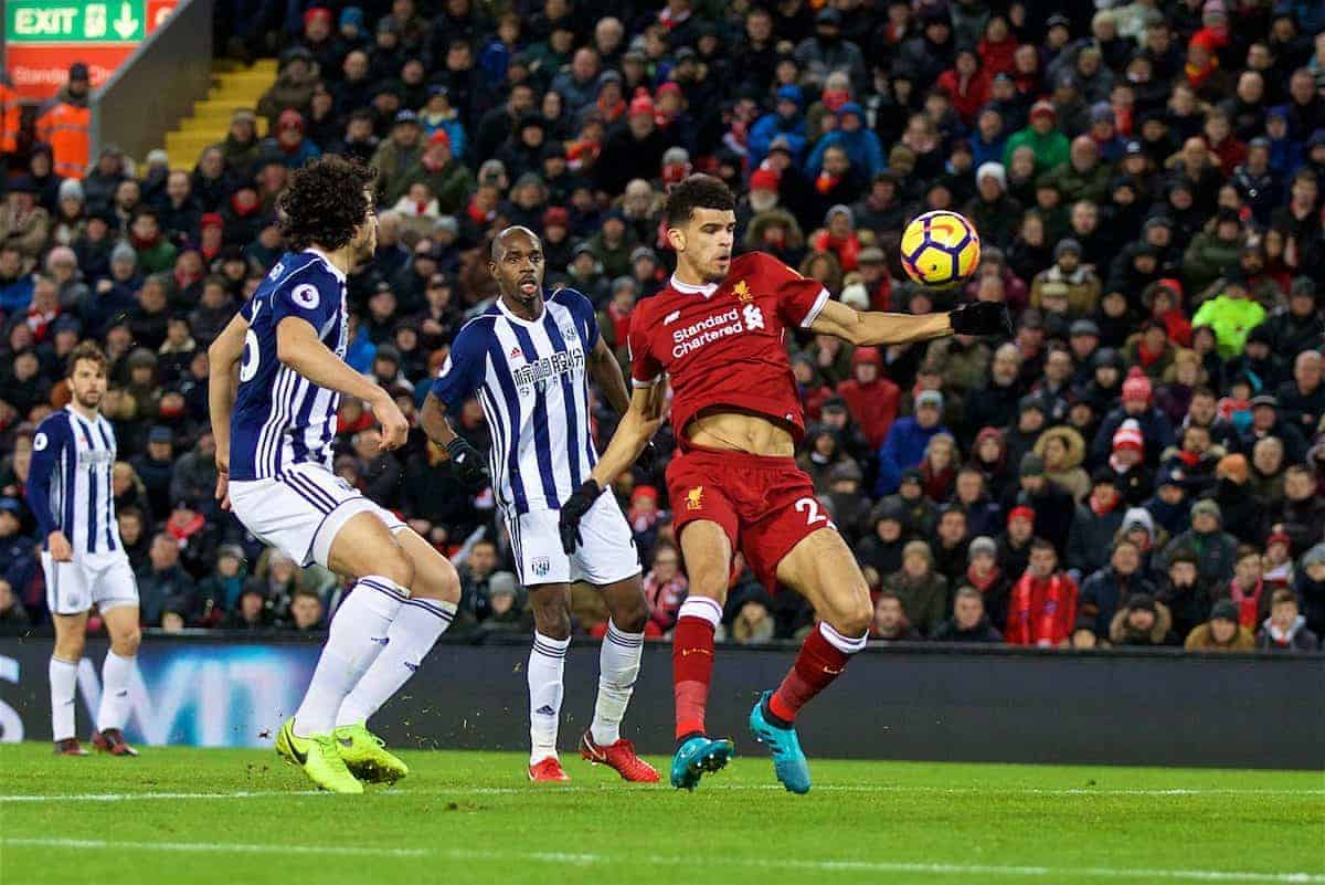 LIVERPOOL, ENGLAND - Wednesday, December 13, 2017: Liverpool's Dominic Solanke 'scores' but sees his goal ruled out for hand ball during the FA Premier League match between Liverpool and West Bromwich Albion at Anfield. (Pic by David Rawcliffe/Propaganda)