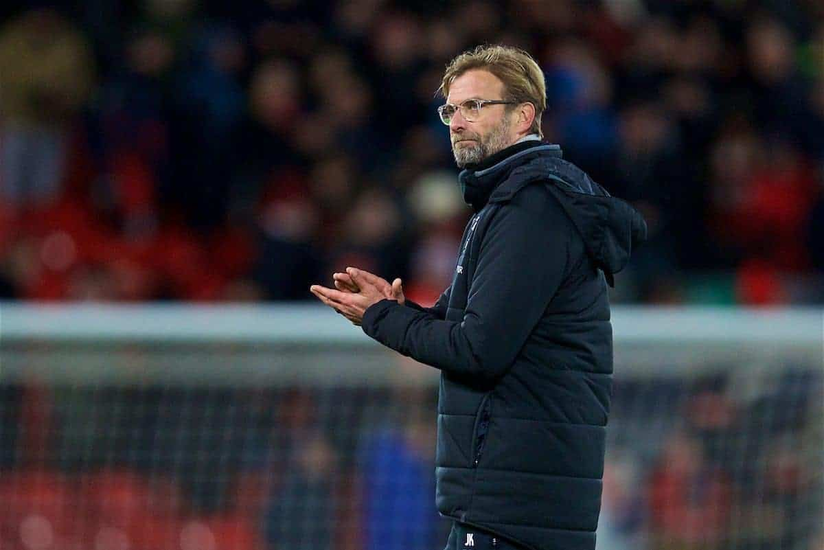 LIVERPOOL, ENGLAND - Wednesday, December 13, 2017: Liverpool's manager Jürgen Klopp looks dejected after the goal-less draw during the FA Premier League match between Liverpool and West Bromwich Albion at Anfield. (Pic by David Rawcliffe/Propaganda)