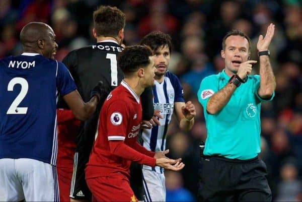 LIVERPOOL, ENGLAND - Wednesday, December 13, 2017: Liverpool's Philippe Coutinho Correia remonstrates with referee Paul Tierney as he disallows a goal for hand ball during the FA Premier League match between Liverpool and West Bromwich Albion at Anfield. (Pic by David Rawcliffe/Propaganda)