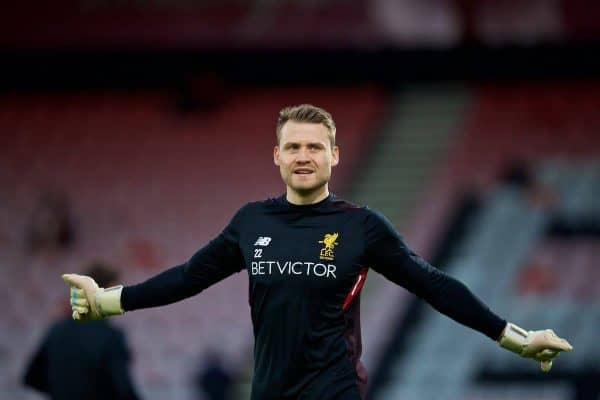 BOURNEMOUTH, ENGLAND - Sunday, December 17, 2017: Liverpool's goalkeeper Simon Mignolet during the pre-match warm-up before the FA Premier League match between AFC Bournemouth and Liverpool at the Vitality Stadium. (Pic by David Rawcliffe/Propaganda)