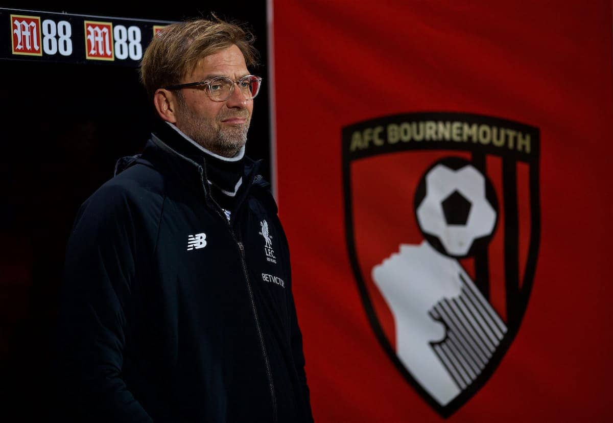 BOURNEMOUTH, ENGLAND - Sunday, December 17, 2017: Liverpool's manager Jürgen Klopp before the FA Premier League match between AFC Bournemouth and Liverpool at the Vitality Stadium. (Pic by David Rawcliffe/Propaganda)