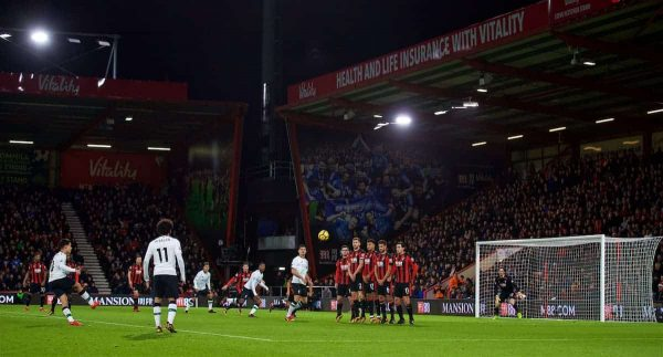 BOURNEMOUTH, ENGLAND - Sunday, December 17, 2017: Liverpool's Philippe Coutinho Correia hits the post with his free-kick during the FA Premier League match between AFC Bournemouth and Liverpool at the Vitality Stadium. (Pic by David Rawcliffe/Propaganda)