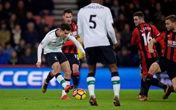 BOURNEMOUTH, ENGLAND - Sunday, December 17, 2017: Liverpool's Philippe Coutinho Correia scores the first goal during the FA Premier League match between AFC Bournemouth and Liverpool at the Vitality Stadium. (Pic by David Rawcliffe/Propaganda)