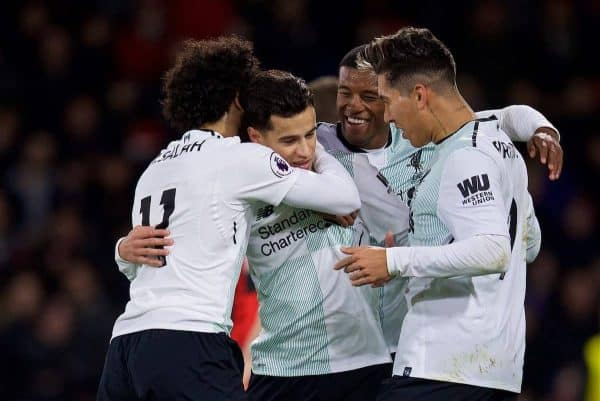BOURNEMOUTH, ENGLAND - Sunday, December 17, 2017: Liverpool's Philippe Coutinho Correia celebrates scoring the first goal with team-mates during the FA Premier League match between AFC Bournemouth and Liverpool at the Vitality Stadium. (Pic by David Rawcliffe/Propaganda)