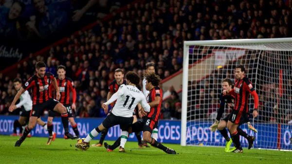 BOURNEMOUTH, ENGLAND - Sunday, December 17, 2017: Liverpool's Mohamed Salah scores the third goal during the FA Premier League match between AFC Bournemouth and Liverpool at the Vitality Stadium. (Pic by David Rawcliffe/Propaganda)