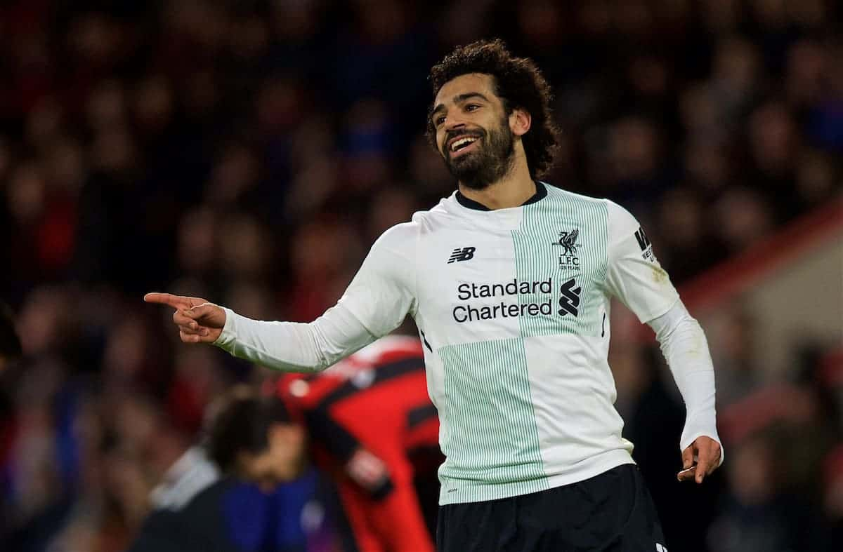 BOURNEMOUTH, ENGLAND - Sunday, December 17, 2017: Liverpool's Mohamed Salah celebrates scoring the third goal during the FA Premier League match between AFC Bournemouth and Liverpool at the Vitality Stadium. (Pic by David Rawcliffe/Propaganda)