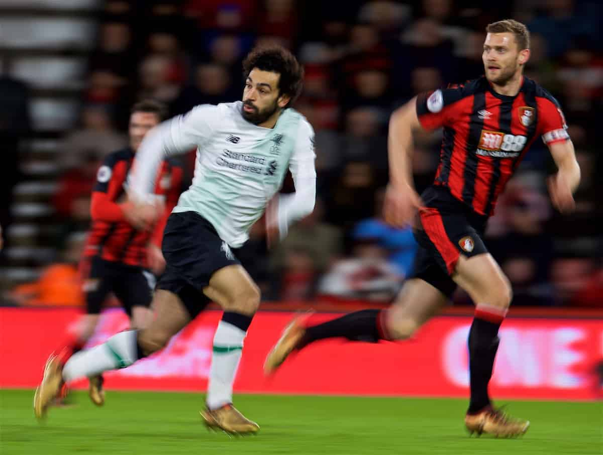 BOURNEMOUTH, ENGLAND - Sunday, December 17, 2017: Liverpool's Mohamed Salah during the FA Premier League match between AFC Bournemouth and Liverpool at the Vitality Stadium. (Pic by David Rawcliffe/Propaganda)