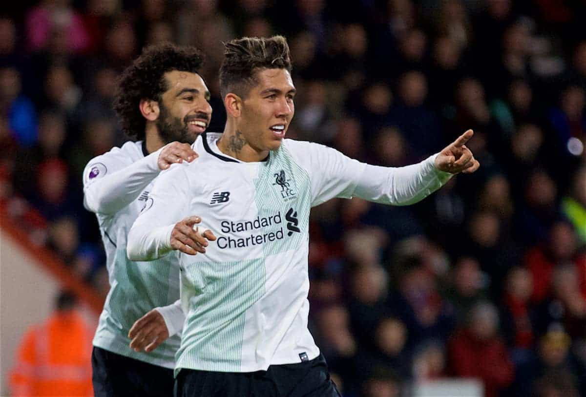 BOURNEMOUTH, ENGLAND - Sunday, December 17, 2017: Liverpool's Roberto Firmino celebrates scoring the fourth goal during the FA Premier League match between AFC Bournemouth and Liverpool at the Vitality Stadium. (Pic by David Rawcliffe/Propaganda)