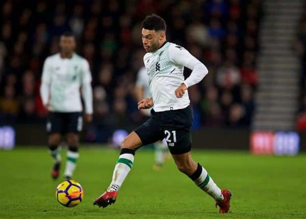 BOURNEMOUTH, ENGLAND - Sunday, December 17, 2017: Liverpool's Alex Oxlade-Chamberlain during the FA Premier League match between AFC Bournemouth and Liverpool at the Vitality Stadium. (Pic by David Rawcliffe/Propaganda)