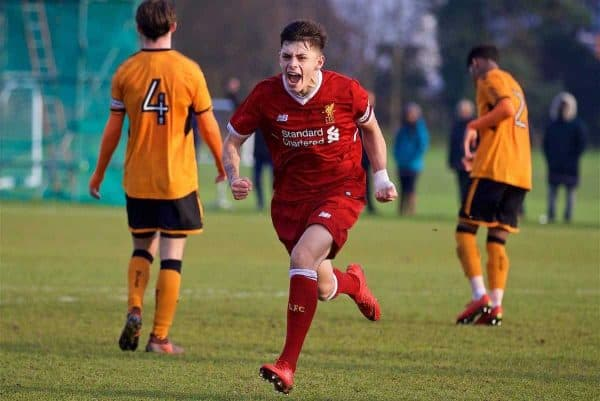 WOLVERHAMPTON, ENGLAND - Tuesday, December 19, 2017: Liverpool's Adam Lewis celebrates scoring the winning second goal during an Under-18 FA Premier League match between Wolverhampton Wanderers and Liverpool FC at the Sir Jack Hayward Training Ground. (Pic by David Rawcliffe/Propaganda)
