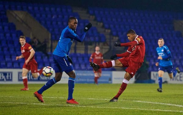 BIRKENHEAD, ENGLAND - Tuesday, December 19, 2017: Liverpool's Rhian Brewster scores the first goal during the Under-23 FA Premier League International Cup Group A match between Liverpool and PSV Eindhoven at Prenton Park. (Pic by David Rawcliffe/Propaganda)