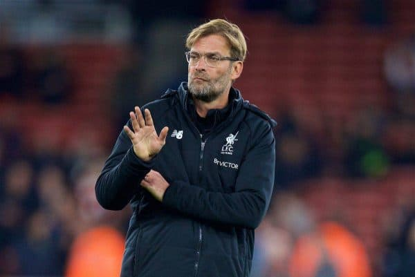 Liverpool's manager Jürgen Klopp before the FA Premier League match between Arsenal and Liverpool at the Emirates Stadium. (Pic by David Rawcliffe/Propaganda)