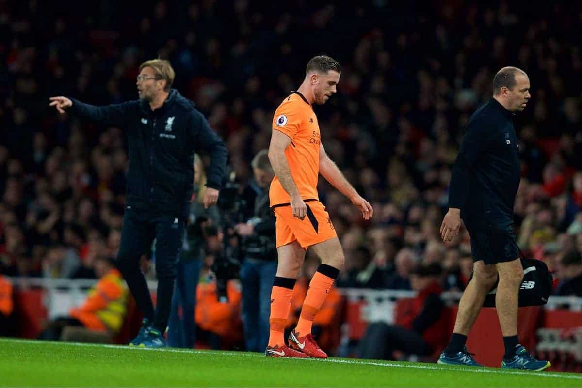 LONDON, ENGLAND - Friday, December 22, 2017: Liverpool's captain Jordan Henderson goes off with an injury during the FA Premier League match between Arsenal and Liverpool at the Emirates Stadium. (Pic by David Rawcliffe/Propaganda)