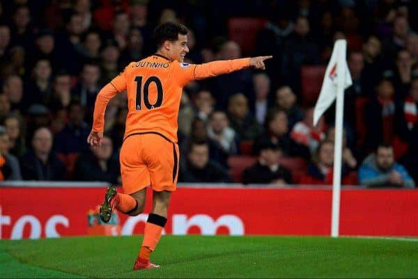 Liverpool's Philippe Coutinho Correia celebrates scoring the first goal during the FA Premier League match between Arsenal and Liverpool at the Emirates Stadium. (Pic by David Rawcliffe/Propaganda)