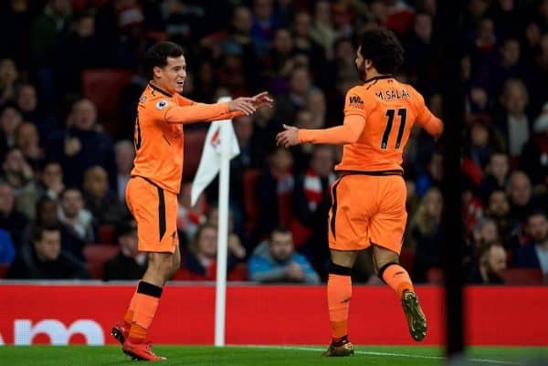 LONDON, ENGLAND - Friday, December 22, 2017: Liverpool's Philippe Coutinho Correia celebrates scoring the first goal with team-mate Mohamed Salah during the FA Premier League match between Arsenal and Liverpool at the Emirates Stadium. (Pic by David Rawcliffe/Propaganda)