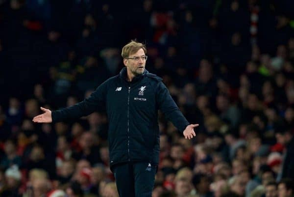 LONDON, ENGLAND - Friday, December 22, 2017: Liverpool's manager J¸rgen Klopp reeacts during the FA Premier League match between Arsenal and Liverpool at the Emirates Stadium. (Pic by David Rawcliffe/Propaganda)