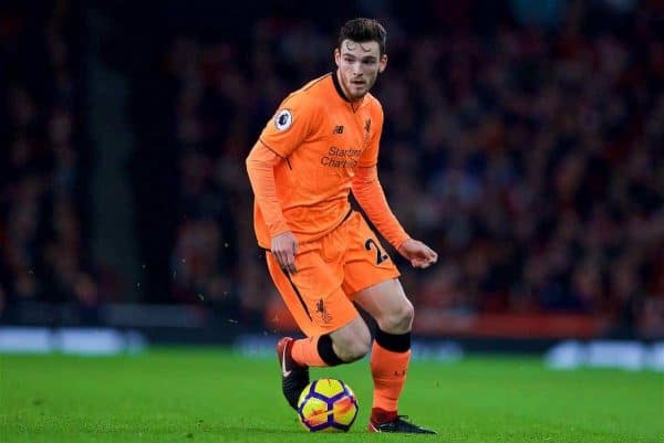 Liverpool's Andy Robertson during the FA Premier League match between Arsenal and Liverpool at the Emirates Stadium. (Pic by David Rawcliffe/Propaganda)