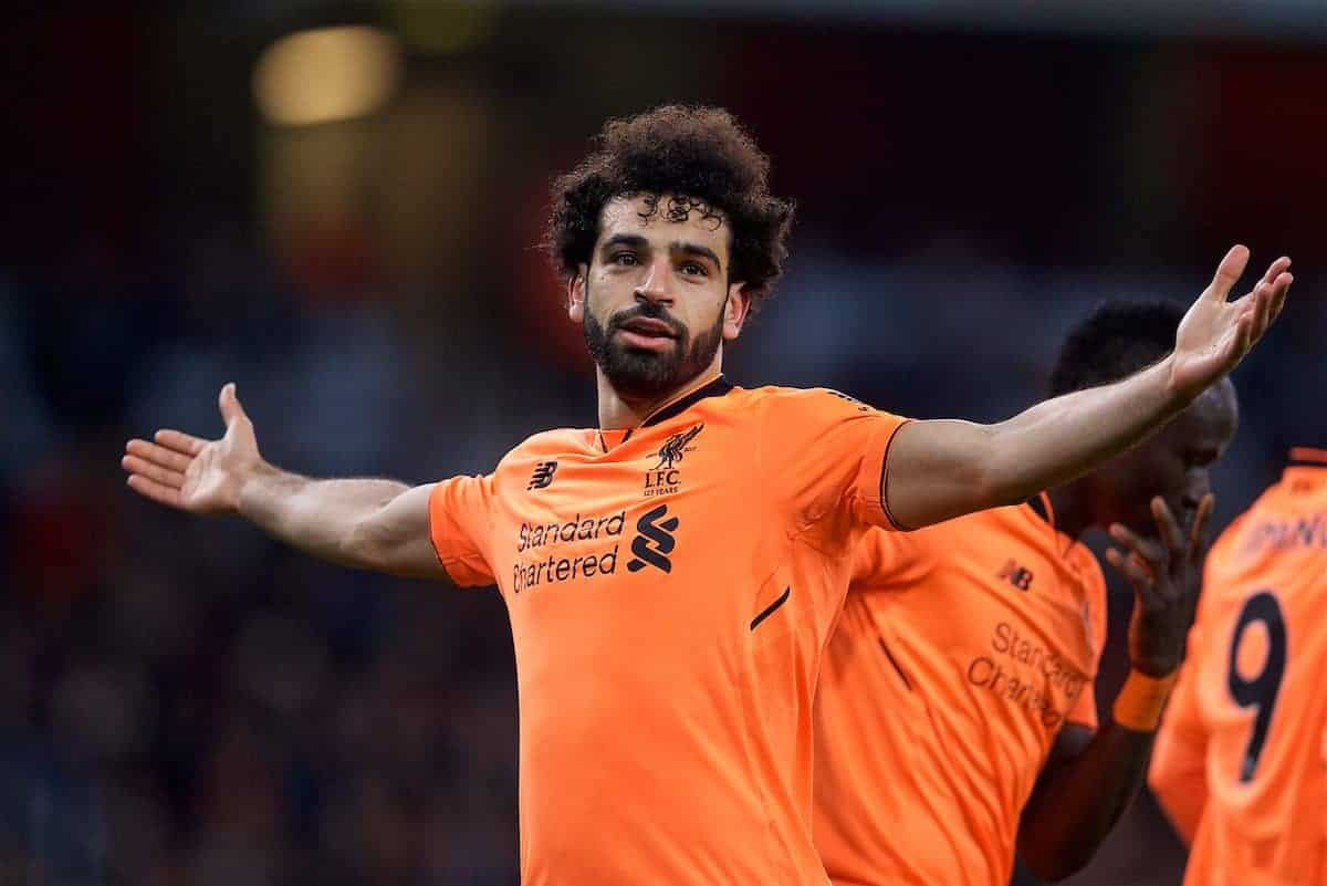 LONDON, ENGLAND - Friday, December 22, 2017: Liverpool's Mohamed Salah celebrates scoring the second goal during the FA Premier League match between Arsenal and Liverpool at the Emirates Stadium. (Pic by David Rawcliffe/Propaganda)