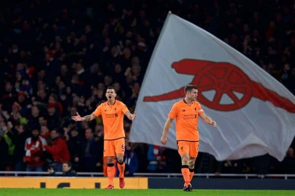 LONDON, ENGLAND - Friday, December 22, 2017: Liverpool's Dejan Lovren looks dejected as Arsenal score the third goal to take the lead 3-2 during the FA Premier League match between Arsenal and Liverpool at the Emirates Stadium. (Pic by David Rawcliffe/Propaganda)