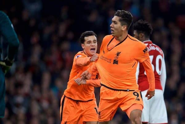 LONDON, ENGLAND - Friday, December 22, 2017: Liverpool's Roberto Firmino celebrates scoring the third goal to equalise the score at 3-3 with team-mate Philippe Coutinho Correia during the FA Premier League match between Arsenal and Liverpool at the Emirates Stadium. (Pic by David Rawcliffe/Propaganda)