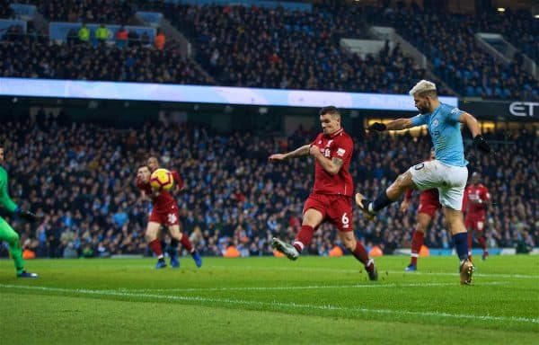 MANCHESTER, ENGLAND - Thursday, January 3, 2019: Manchester City's Sergio Aguero scores the first goal during the FA Premier League match between Manchester City FC and Liverpool FC at the Etihad Stadium. (Pic by David Rawcliffe/Propaganda)