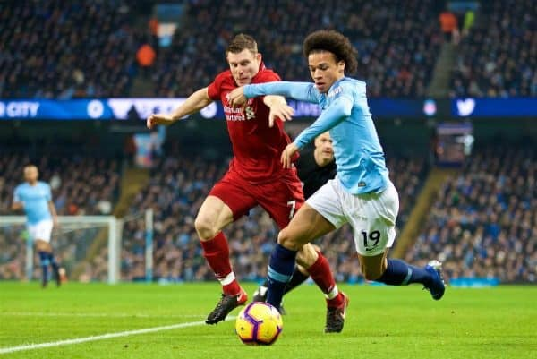 MANCHESTER, ENGLAND - Thursday, January 3, 2019: Liverpool's captain James Milner (R) and Manchester City's Leroy Sane (L) during the FA Premier League match between Manchester City FC and Liverpool FC at the Etihad Stadium. (Pic by David Rawcliffe/Propaganda)