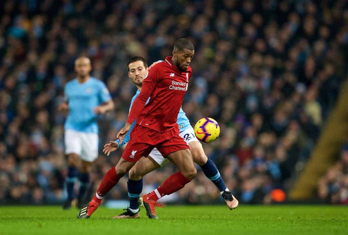 MANCHESTER, ENGLAND - Thursday, January 3, 2019: Liverpool's Georginio Wijnaldum (R) and Manchester City's David Silva during the FA Premier League match between Manchester City FC and Liverpool FC at the Etihad Stadium. (Pic by David Rawcliffe/Propaganda)
