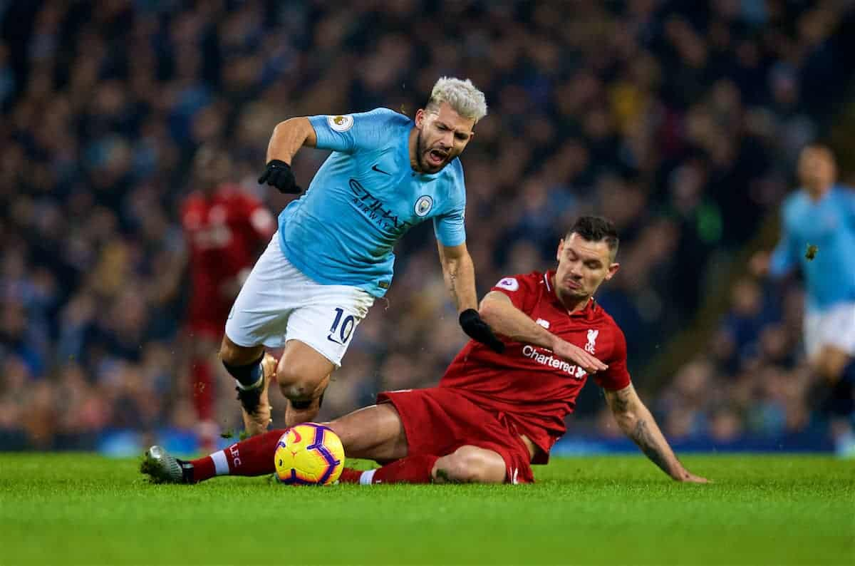 MANCHESTER, ENGLAND - Thursday, January 3, 2019: Manchester City's Sergio Aguero (L) and Liverpool's Dejan Lovren during the FA Premier League match between Manchester City FC and Liverpool FC at the Etihad Stadium. (Pic by David Rawcliffe/Propaganda)