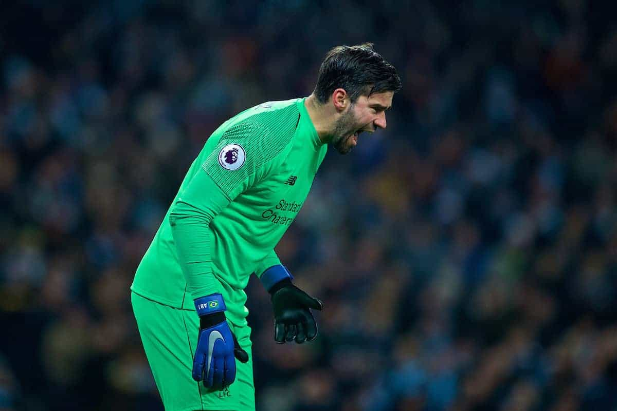MANCHESTER, ENGLAND - Thursday, January 3, 2019: Liverpool's goalkeeper Alisson Becker looks dejected during the FA Premier League match between Manchester City FC and Liverpool FC at the Etihad Stadium. (Pic by David Rawcliffe/Propaganda)