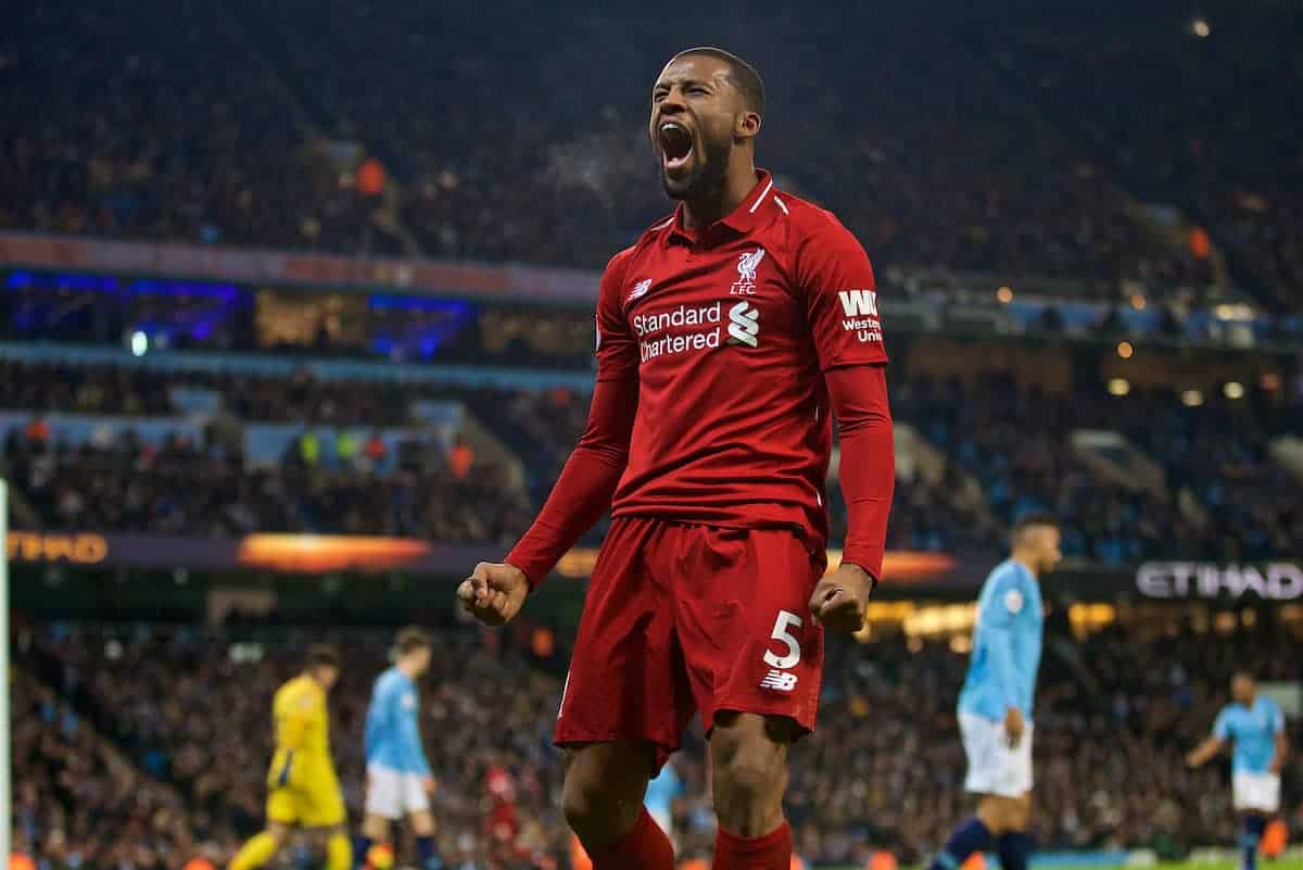 MANCHESTER, ENGLAND - Thursday, January 3, 2019: Liverpool's Georginio Wijnaldum celebrates his side first equalising goal during the FA Premier League match between Manchester City FC and Liverpool FC at the Etihad Stadium. (Pic by David Rawcliffe/Propaganda)