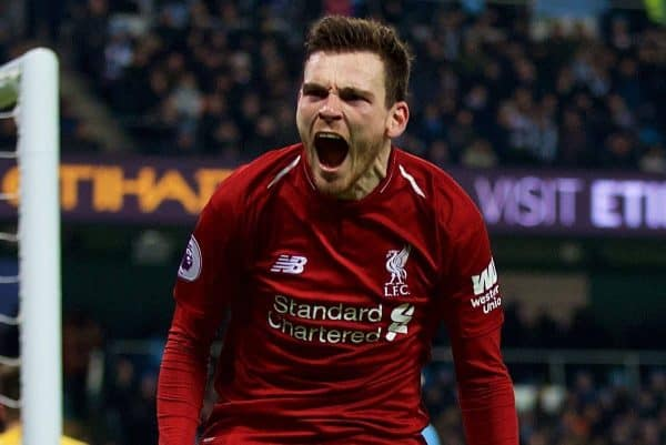 MANCHESTER, ENGLAND - Thursday, January 3, 2019: Liverpool's Andy Robertson celebrates his side first equalising goal during the FA Premier League match between Manchester City FC and Liverpool FC at the Etihad Stadium. (Pic by David Rawcliffe/Propaganda)