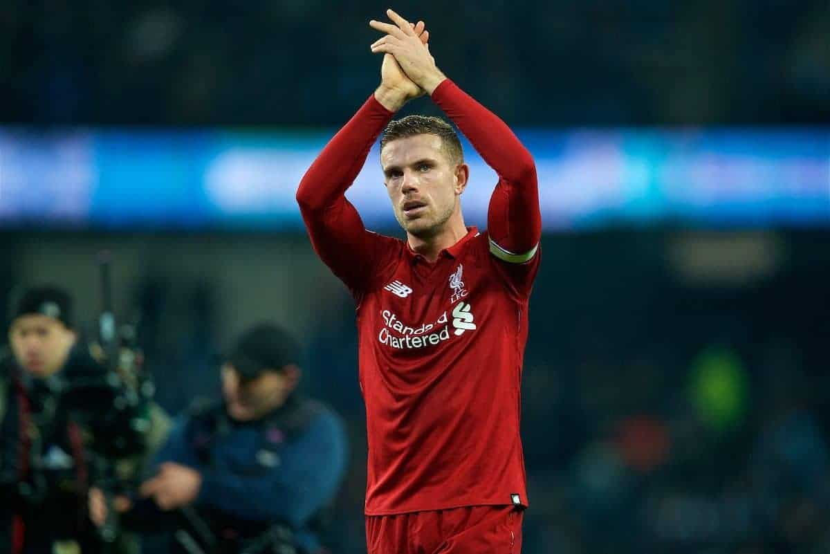 MANCHESTER, ENGLAND - Thursday, January 3, 2019: Liverpool's captain Jordan Henderson applauds the supporters after 2-1 defeat from Manchester City during the FA Premier League match between Manchester City FC and Liverpool FC at the Etihad Stadium. (Pic by David Rawcliffe/Propaganda)