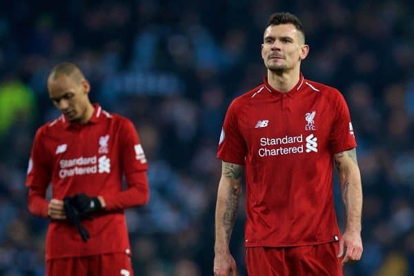 MANCHESTER, ENGLAND - Thursday, January 3, 2019: Liverpool's Dejan Lovren looks dejected after the FA Premier League match between Manchester City FC and Liverpool FC at the Etihad Stadium. Liverpool lost 1-2. (Pic by David Rawcliffe/Propaganda)