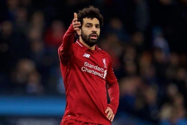MANCHESTER, ENGLAND - Thursday, January 3, 2019: Liverpool's Mohamed Salah looks dejected during the FA Premier League match between Manchester City FC and Liverpool FC at the Etihad Stadium. (Pic by David Rawcliffe/Propaganda)